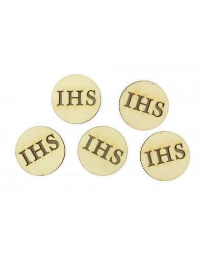 Drewniane emblematy IHS, 5 sztuk