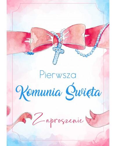 Zaproszenie Komunia Święta Pastelowe Różaniec