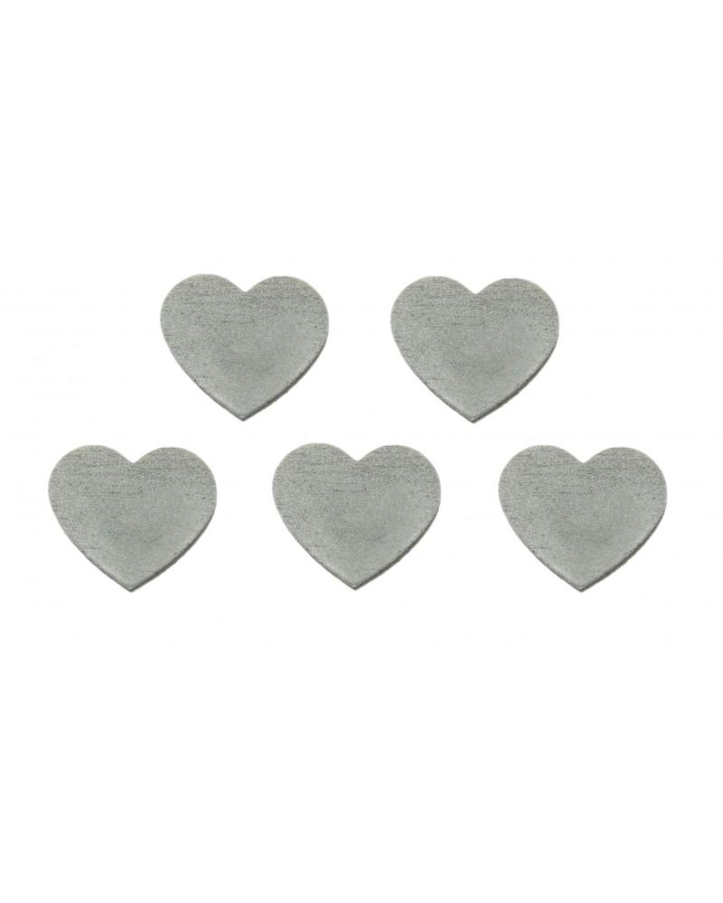 Serduszka drewniane, przylepne, 5 sztuk srebrne