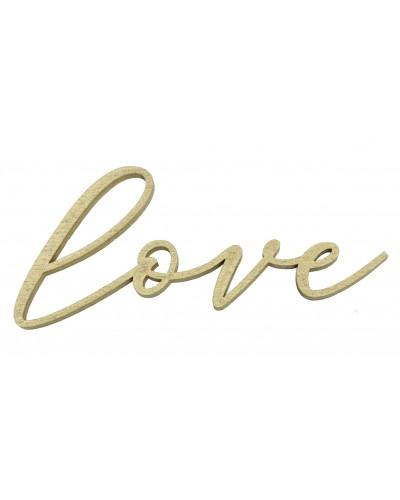 Drewniany napis Love w kolorze złotym, przylepny