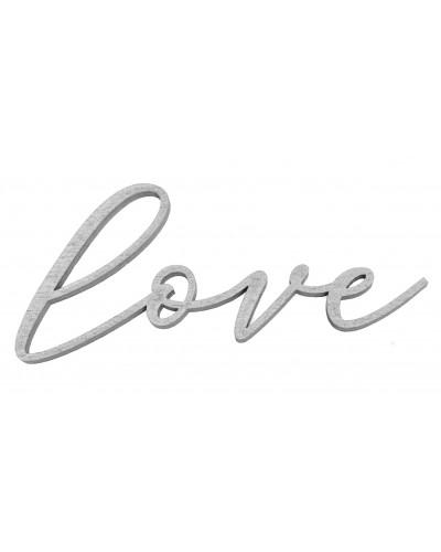 Drewniany napis Love w kolorze srebrnym, przylepny