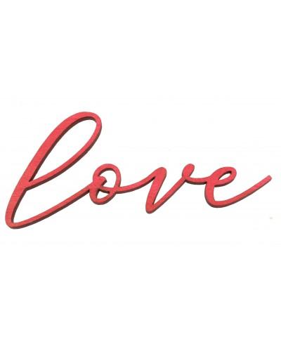 Drewniany napis Love w kolorze czerwonym, przylepny