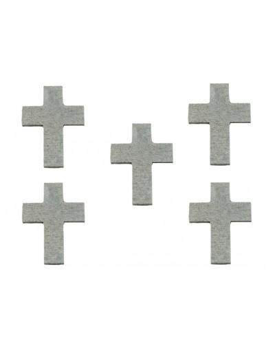 Drewniane Krzyże w kolorze srebrnym, 5 sztuk
