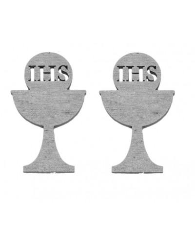 Drewniane kielichy IHS w kolorze srebrnym, 2 szt.