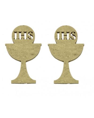 Drewniane kielichy IHS w kolorze złotym, 2 szt.