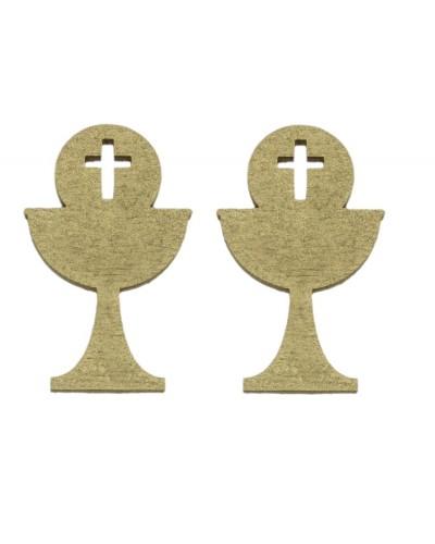 Drewniane kielichy Krzyż w kolorze złotym, 2 szt.