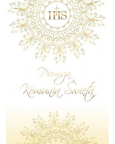 Zaproszenie na Komunię Świętą Złote IHS
