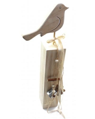 Drewniany ptaszek, ptak na stojaku 40cm
