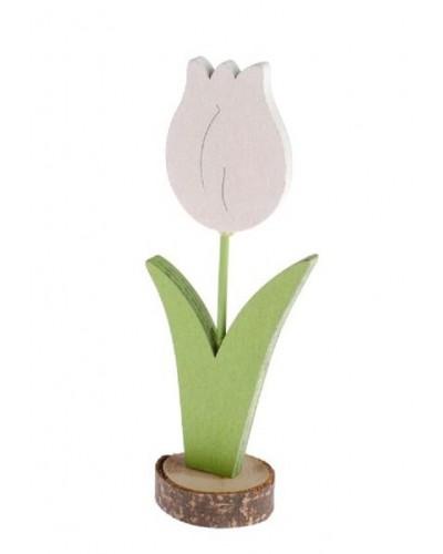 Drewniany tulipan 12,5x5x3 cm Biały