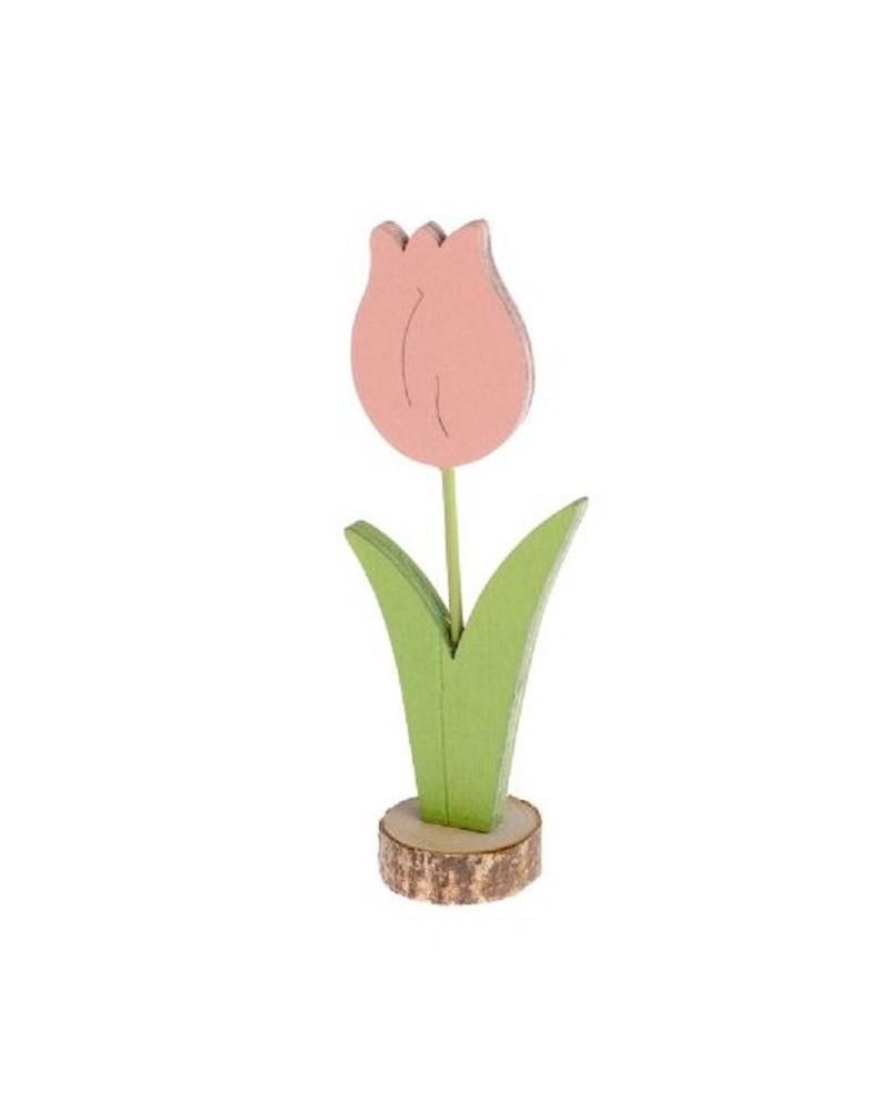 Drewniany tulipan 12,5x5x3 cm Różowy