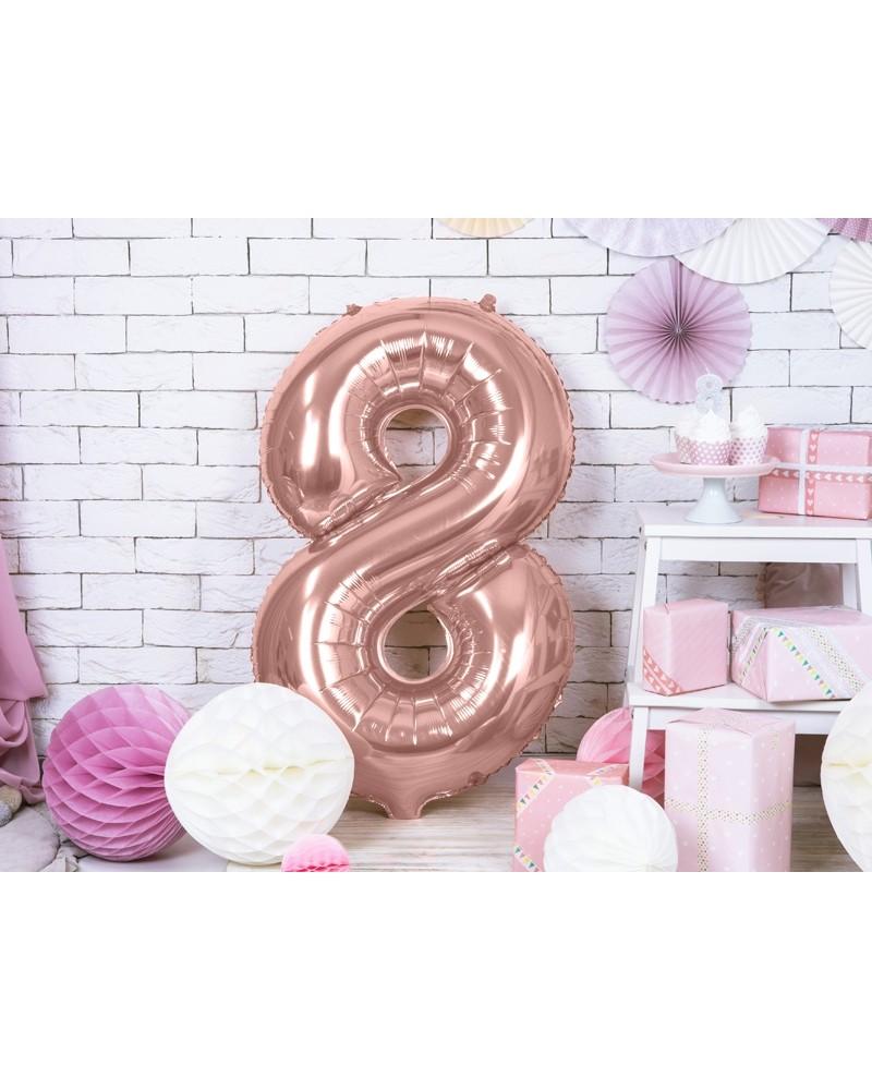 """Balon foliowy różowo-złota cyfra """"8"""" 86cm"""