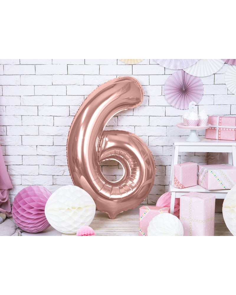 """Balon foliowy różowo-złota cyfra """"6"""" 86cm"""