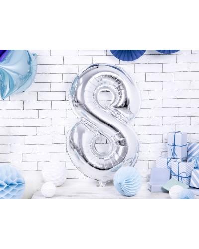 """Balon foliowy srebrna cyfra """"8"""" 86cm"""