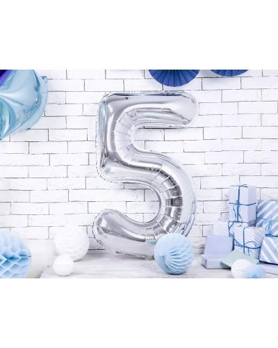 """Balon foliowy srebrna cyfra """"5"""" 86cm"""