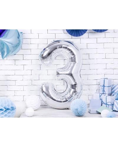 """Balon foliowy srebrna cyfra """"3"""" 86cm"""