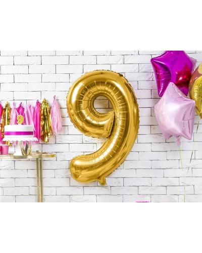 """Balon foliowy złota cyfra """"9"""" 86cm"""