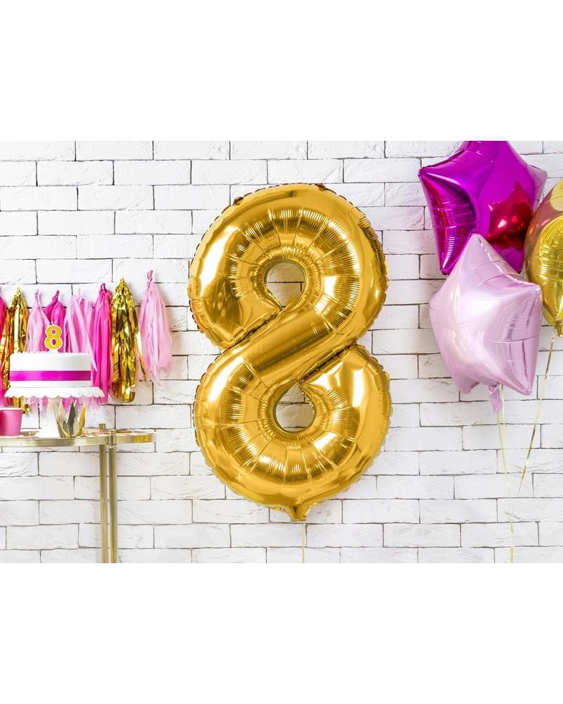 """Balon foliowy złota cyfra """"8"""" 86cm"""