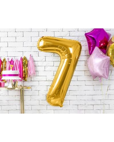 """Balon foliowy złota cyfra """"7"""" 86cm"""