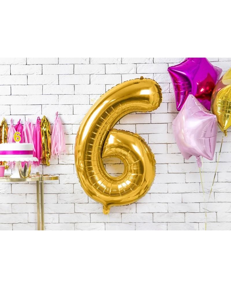 """Balon foliowy złota cyfra """"6"""" 86cm"""