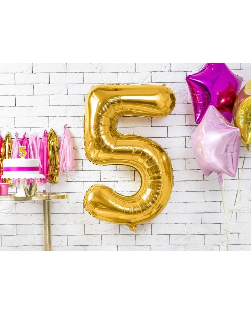 """Balon foliowy złota cyfra """"5"""" 86cm"""
