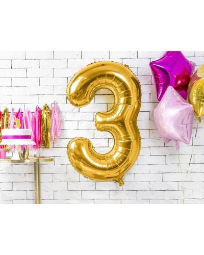 """Balon foliowy złota cyfra """"3"""" 86cm"""