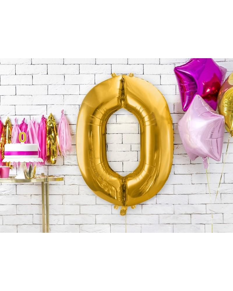 """Balon foliowy złota cyfra """"0"""" 86cm"""