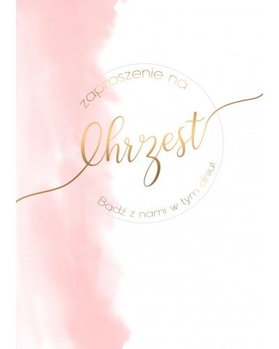 Zaproszenia na Chrzest Różowo złote dodatki