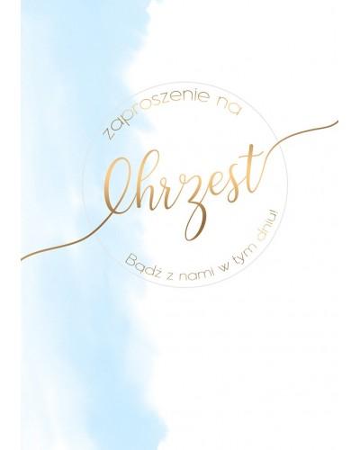 Zaproszenia na Chrzest Błękitno złote dodatki