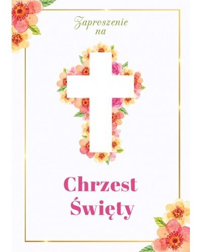Zaproszenia na Chrzest Święty Motyw kwiatowy