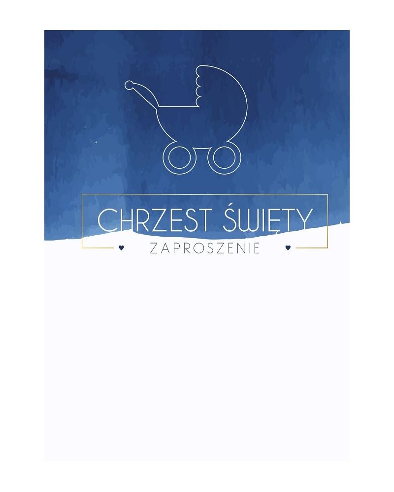 Zaproszenia na chrzest święty Niebieskie wózek