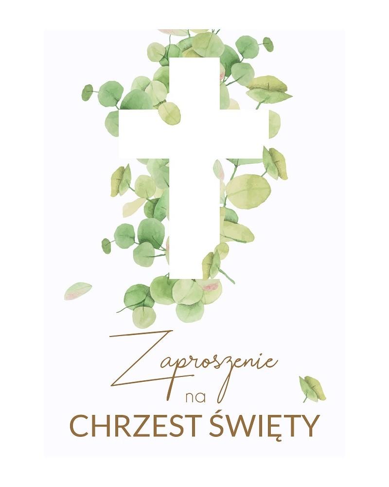 Zaproszenia na chrzest święty Zielone liście