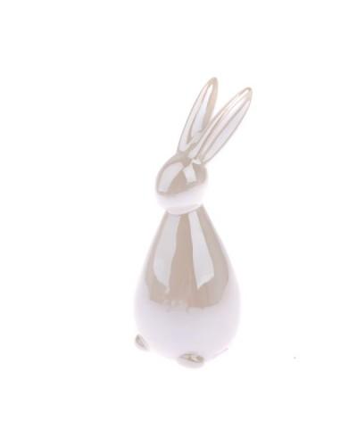 Królik króliczek ceramiczny w kolorze białym 4,3x9,5x3,8cm