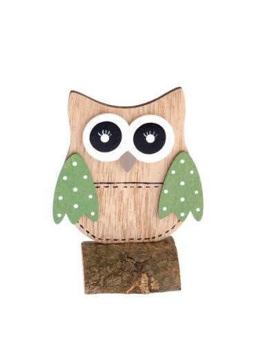 Drewniana sowa 9,5x12,5x5 cm Figurka Zielona