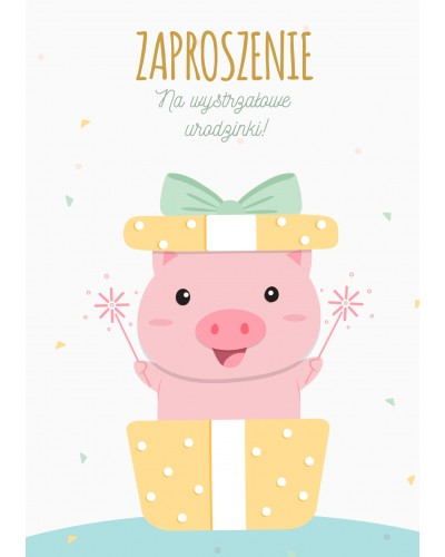 Zaproszenie na urodziny Urodzinowa Świnka