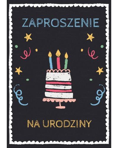 Zaproszenie na urodziny Czarne z urodzinowym tortem