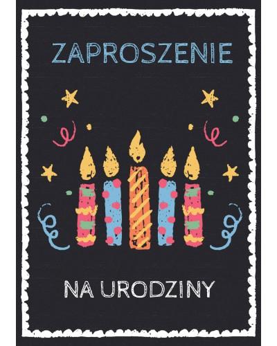 Zaproszenie na urodziny Czarne ze świeczkami