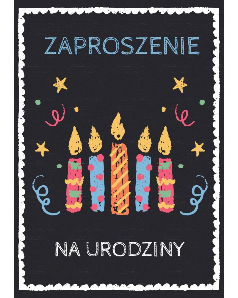 Zaproszenia na urodziny Czarne ze świeczkami