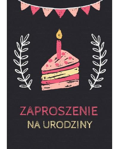 Zaproszenie na urodziny Czarne z ciastkiem