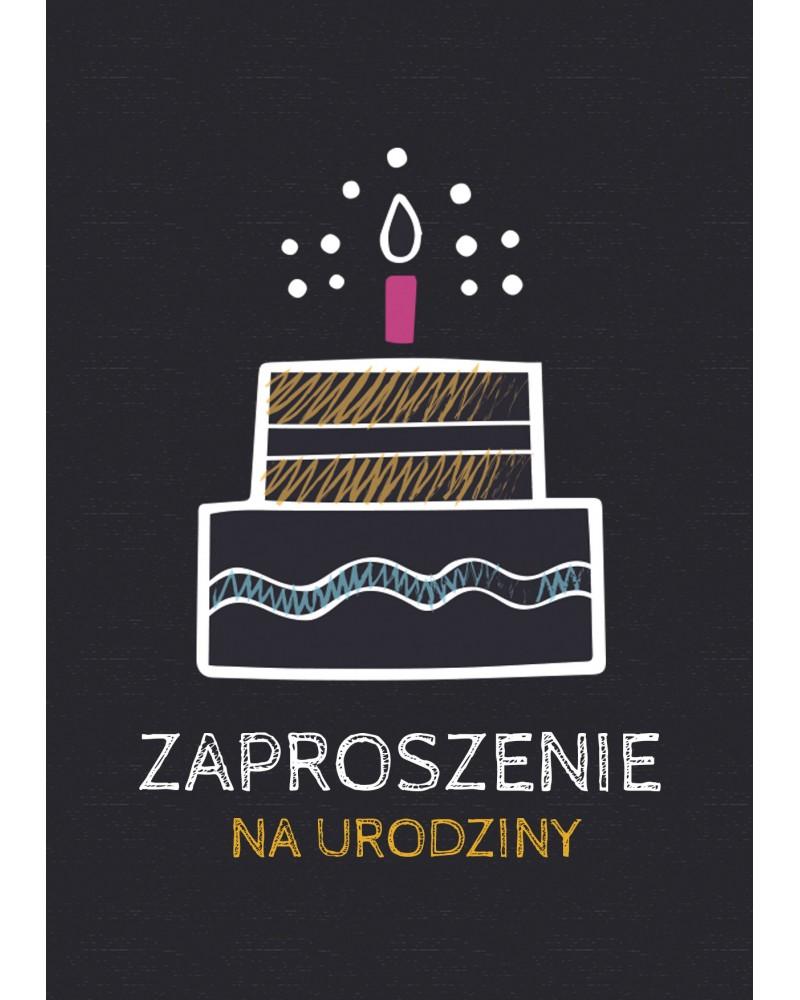 Zaproszenie na urodziny Tort ze świeczką