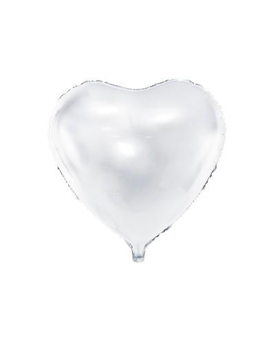 Balon foliowy 45cm Serce Białe