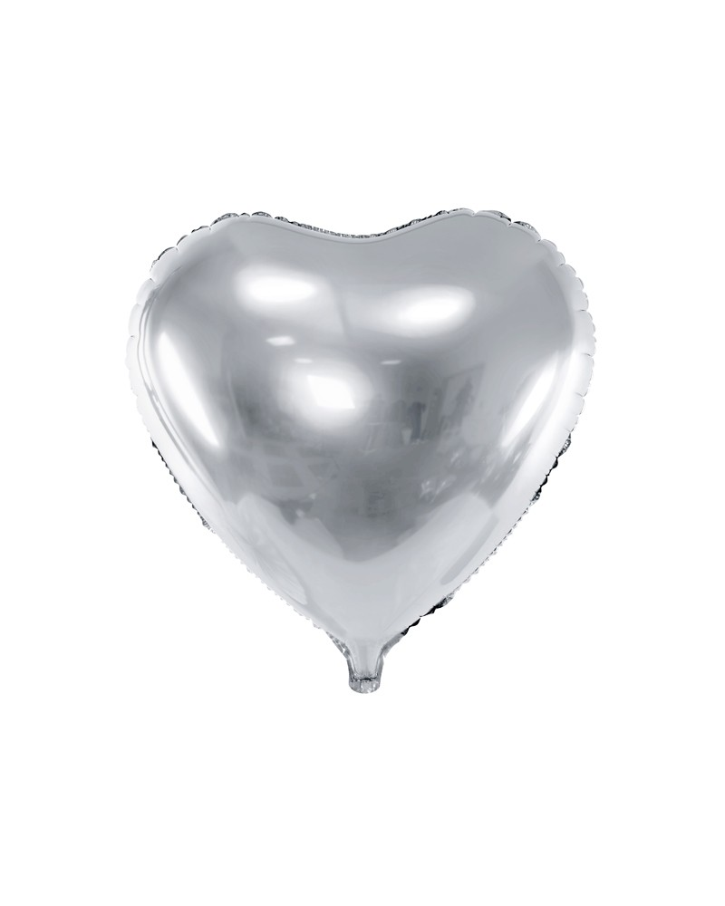 Balon foliowy 45cm Serce Srebrne