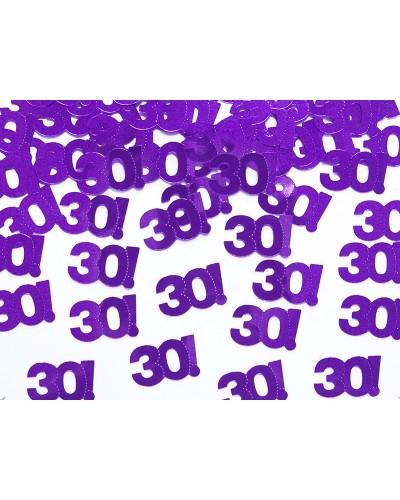 Konfetti metalizowane na 30tkę, fiolet