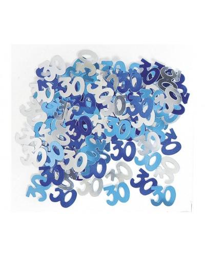 Konfetti metalizowane na 30tkę, niebieskie