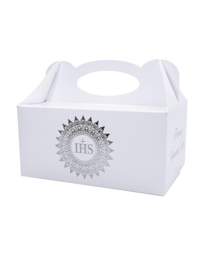 Pudełko na ciasto komunijne srebrna hostia