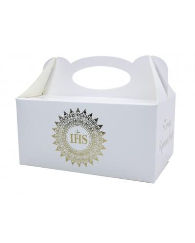 Pudełko na ciasto komunijne Złota Hostia