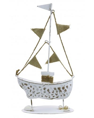 Statek morski metalowy, dekoracja 23cm