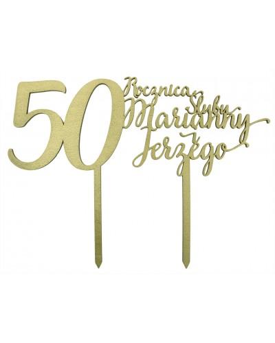 Topper na 50 rocznicę ślubu Złoty, imiona