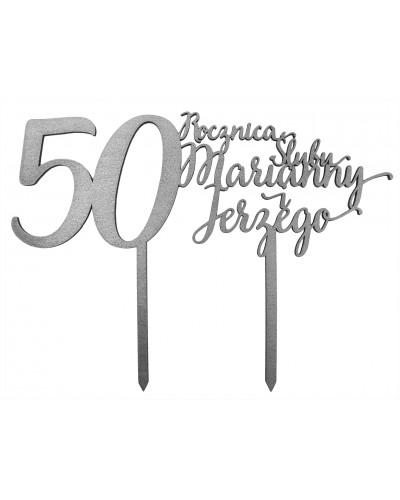 Topper na 50 rocznicę ślubu Srebrny, imiona