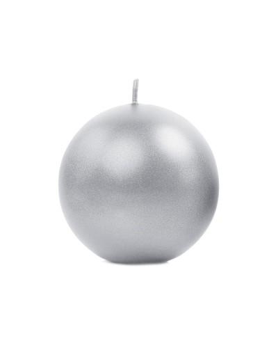 Świeca kula metalizowana 8cm srebrna
