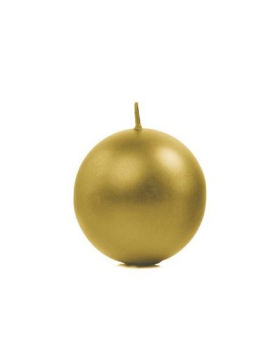 Świeca kula metalizowana złota, 6cm